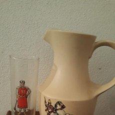 Vintage: ALCOY - 20 VASOS COMPARSAS MOROS Y CRISTIANOS + JARRA SAN JORGE. Lote 141809646