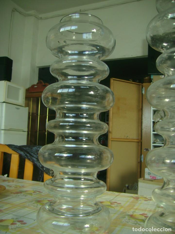 Vintage: CRISTAL JARRONES BUCAROS DE DISEÑO PAREJA - Foto 5 - 142417978