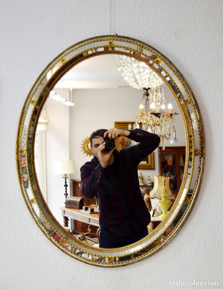 ESPEJO OVALADO ESTILO VENECIANO (Vintage - Decoración - Cristal y Vidrio)