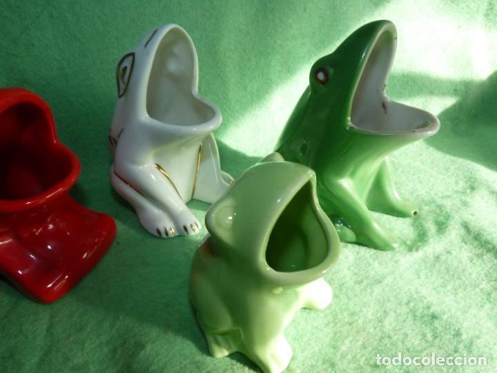 Vintage: Genial lote 5 huesera aceituna rana pez palillero porcelana pintada esmalte años 70 vintage - Foto 4 - 142775594