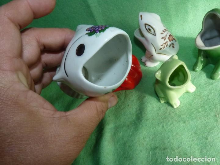 Vintage: Genial lote 5 huesera aceituna rana pez palillero porcelana pintada esmalte años 70 vintage - Foto 8 - 142775594