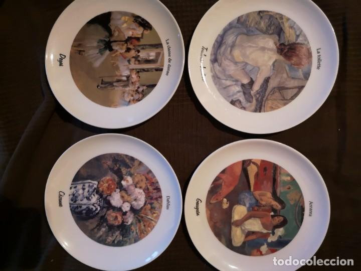 4 PLATOS PORCELANA TOGNANA CON DIBUJOS REPRODUCCIONES DE PINTORES FAMOSOS (Vintage - Decoración - Porcelanas y Cerámicas)