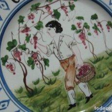 Vintage - PRECIOSO PLATO PARA COLGAR PINTADO A MANO OCTOBRE-MADE IN ITALY-AÑOS 70 - 143657754