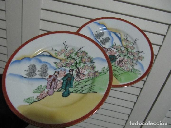 PAREJA DE PLATOS ORIENTALES AÑOS 80S (Vintage - Decoración - Porcelanas y Cerámicas)