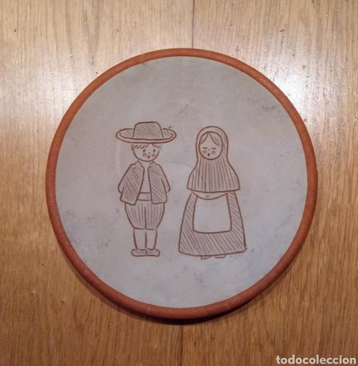 PLATO CERÁMICA DECORADO, 188 MM. (Vintage - Decoración - Porcelanas y Cerámicas)