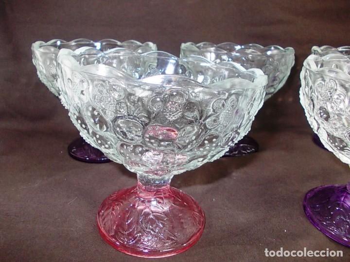Vintage: Conjunto 5 cuencos para postre, macedonia o helado de cristal - Foto 3 - 145061202