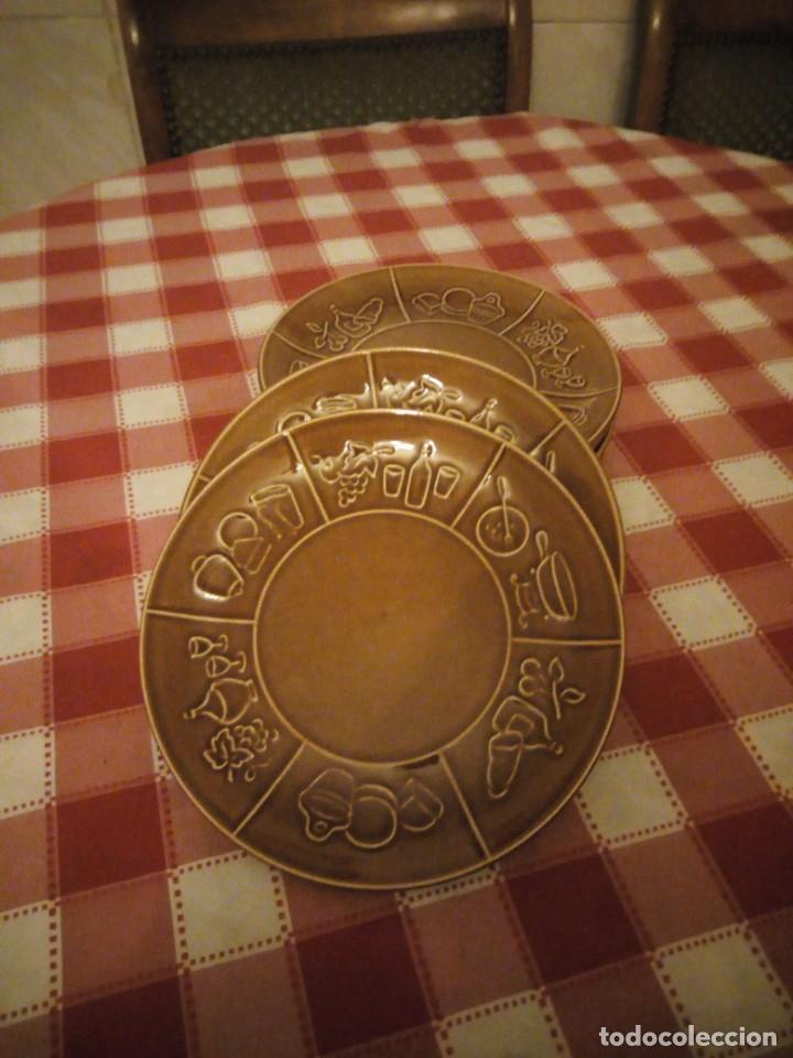 LOTE DE 6 PLATOS DE CERÁMICA,VIDRIADOS EN MARRÓN PARA CARNES O FOUNDUES. (Vintage - Decoración - Porcelanas y Cerámicas)
