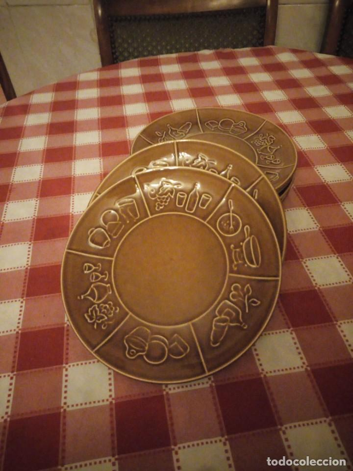 Vintage: Lote de 6 platos de cerámica,vidriados en marrón para carnes o foundues. - Foto 2 - 146318870
