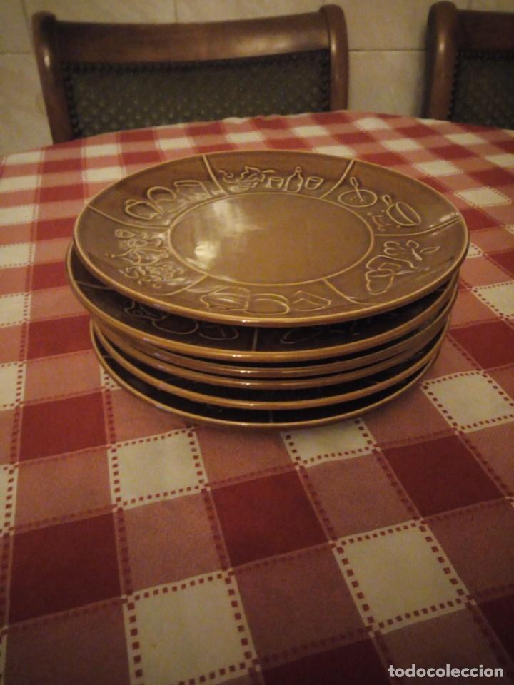 Vintage: Lote de 6 platos de cerámica,vidriados en marrón para carnes o foundues. - Foto 3 - 146318870