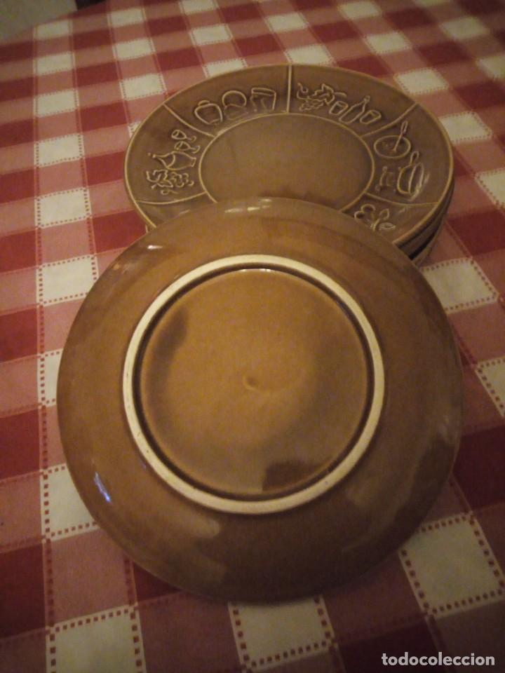 Vintage: Lote de 6 platos de cerámica,vidriados en marrón para carnes o foundues. - Foto 4 - 146318870