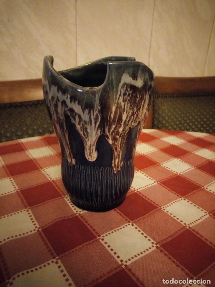 Vintage: Precioso jarrón de cerámica vidriado, tono azul y vetas de marrón. - Foto 2 - 146444186
