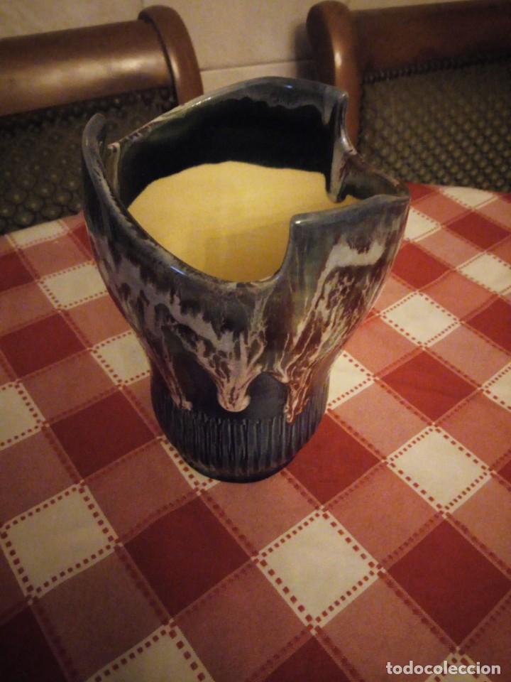 Vintage: Precioso jarrón de cerámica vidriado, tono azul y vetas de marrón. - Foto 3 - 146444186