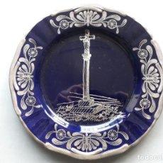Vintage: PLATO DECORATIVO. CERÁMICA ULISES, OVIEDO. CRUCERO CON DETALLES EN PLATA DE LEY.. Lote 147854590