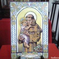 Vintage: AZULEJO DE CERAMICA PINTADO A MANO Y ESMALTADO DE SAN ANTONIO. Lote 151218572