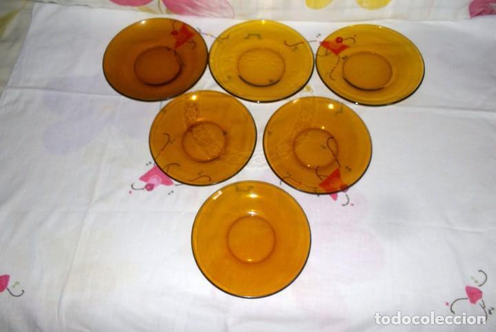 Vintage: LOTE 6 PLATOS DURALEX AMBAR-19 y 16 CM-AÑOS 60-70 - Foto 5 - 149392346