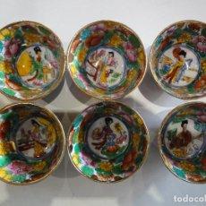 Vintage: SET 6 ANTIGUOS CUENCOS ORIENTALES. SAKE O SIMILAR. PORCELANA.. Lote 149625094