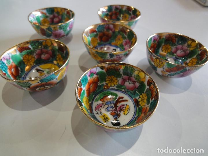 Vintage: Set 6 antiguos cuencos orientales. Sake o similar. Porcelana. - Foto 3 - 149625094