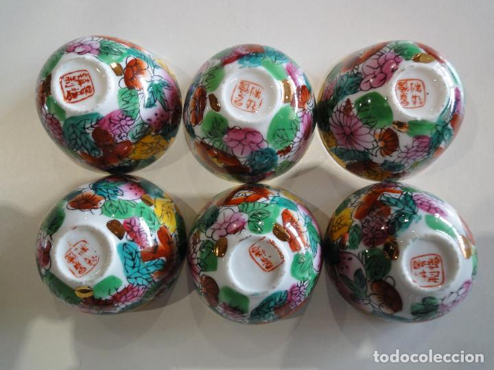 Vintage: Set 6 antiguos cuencos orientales. Sake o similar. Porcelana. - Foto 4 - 149625094