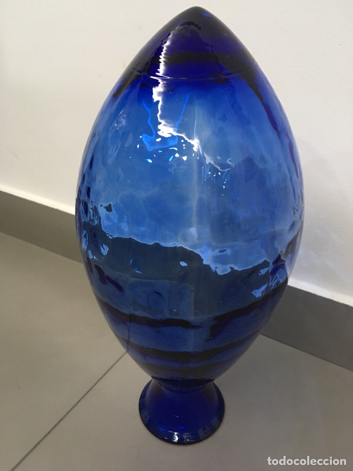 Vintage: Jarrón-florero de vidrio azul - Foto 2 - 151339538