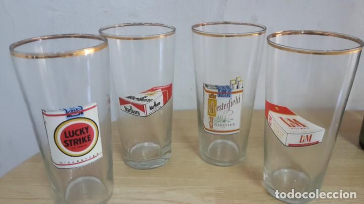 LOTE DE 4 VASOS DE TUBO MARCA DE CIGARRILLOS (Vintage - Decoración - Cristal y Vidrio)