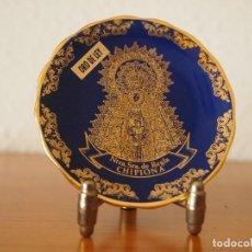 Vintage: PLATITO DE PORCELANA Y ORO RECUERDO DE CHIPIONA CON LA VIRGEN DE REGLA. Lote 152368990