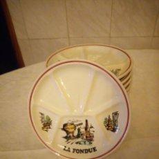 Vintage: JUEGO DE 12 PLATOS DE CERAMICA PARA FONDUE. GIEN FRANCE PINTADOS A MANO. CORDON ROUGE. Lote 152371014