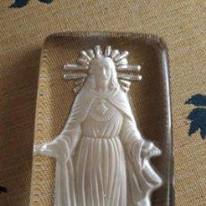 Vintage: IMAGEN RELIGIOSA SAGRADO CORAZÓN DE JESÚS DE CRISTAL COMO NUEVO. Lote 153524078
