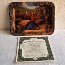 Vintage: GB BONITO PLATO DESORATIVO RECTANGULAR PRAYER IN THE GARDEN + CERTIFICADO - ENGLAND - 22.CM X 16.CM. Lote 154022758