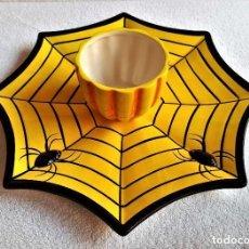 Vintage: BONITO JUEGO DE PORCELANA HALLOWEEN MAGIC SPIDER DIP PLATE. Lote 214618195