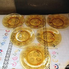 Vintage: 6 PLATOS DE POSTRE DURALEX AMBAR MARGARITAS EN ALTO RELIEVE. Lote 154864122