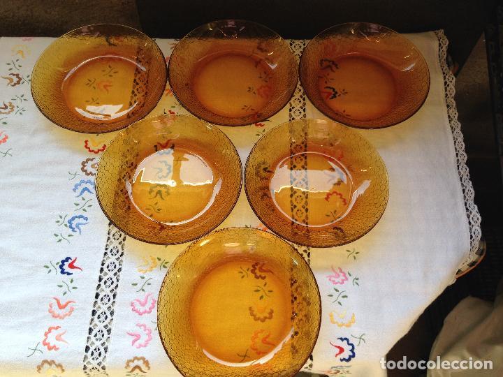 6 PLATOS HONDOS DURALEX AMBAR (Vintage - Decoración - Cristal y Vidrio)