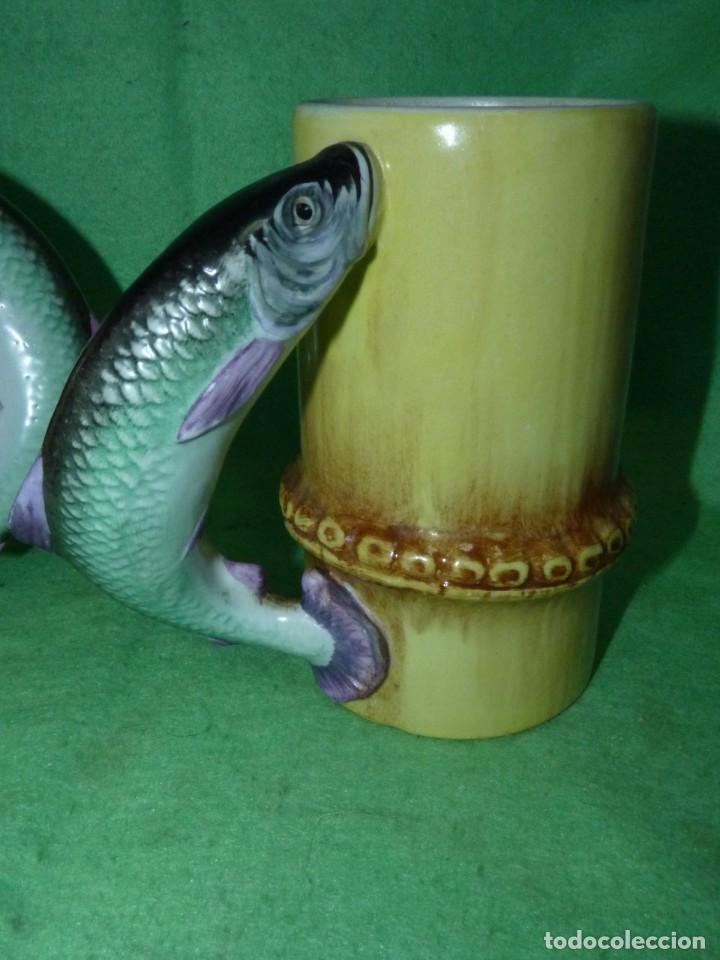 Vintage: Dificil lote jarra porcelana esmaltada bambú con asas en forma de pez pintada a mano España años 60 - Foto 2 - 155692618