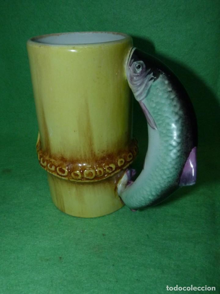 Vintage: Dificil lote jarra porcelana esmaltada bambú con asas en forma de pez pintada a mano España años 60 - Foto 3 - 155692618