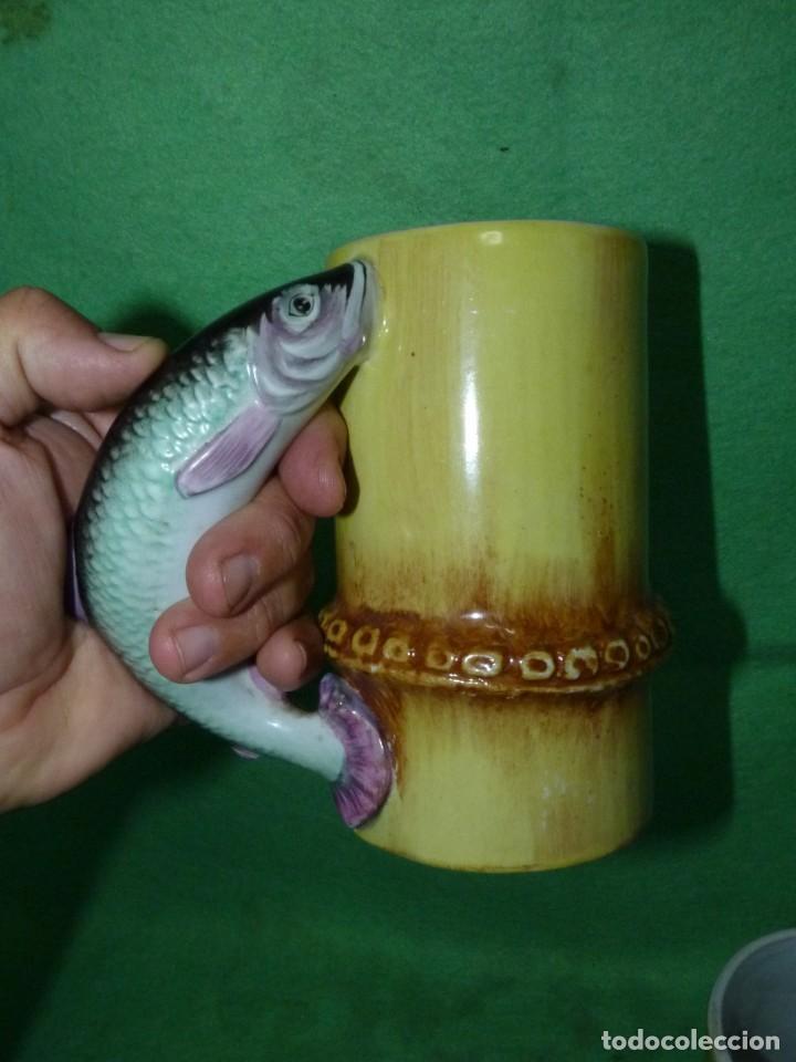 Vintage: Dificil lote jarra porcelana esmaltada bambú con asas en forma de pez pintada a mano España años 60 - Foto 4 - 155692618