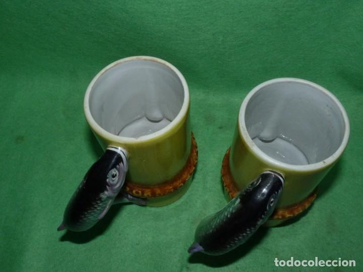 Vintage: Dificil lote jarra porcelana esmaltada bambú con asas en forma de pez pintada a mano España años 60 - Foto 5 - 155692618
