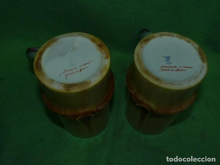 Vintage: Dificil lote jarra porcelana esmaltada bambú con asas en forma de pez pintada a mano España años 60 - Foto 6 - 155692618
