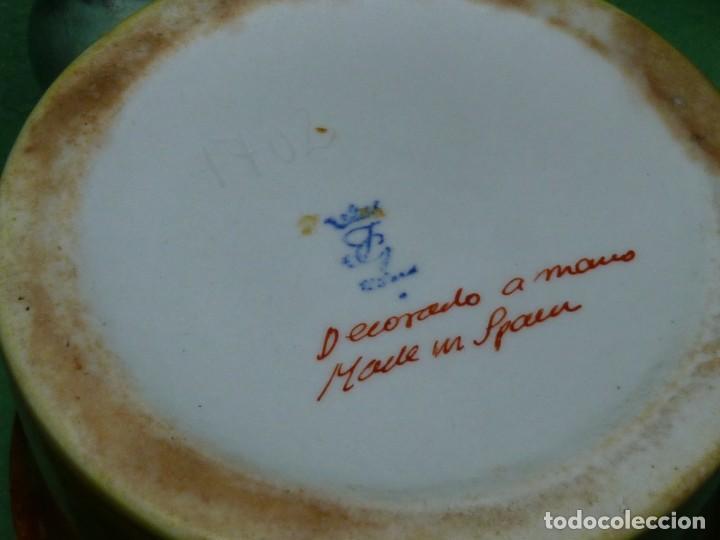 Vintage: Dificil lote jarra porcelana esmaltada bambú con asas en forma de pez pintada a mano España años 60 - Foto 7 - 155692618