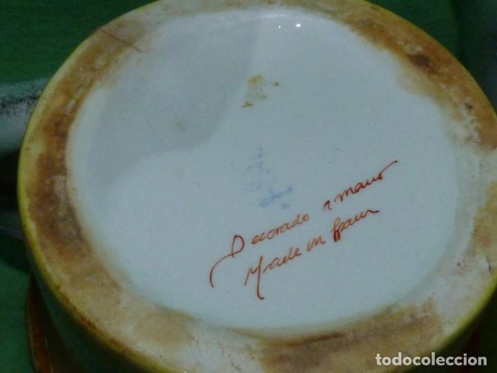Vintage: Dificil lote jarra porcelana esmaltada bambú con asas en forma de pez pintada a mano España años 60 - Foto 8 - 155692618