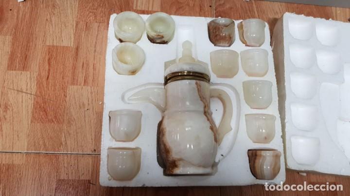 JUEGO DE CAFE EN MARMOL (Vintage - Decoración - Porcelanas y Cerámicas)