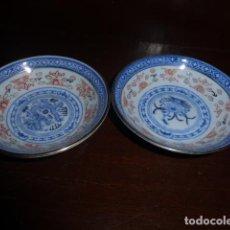 Vintage: PAREJA DE CUENCOS ORIENTALES DE PORCELANA PINTADOS A MANO.. Lote 156534466
