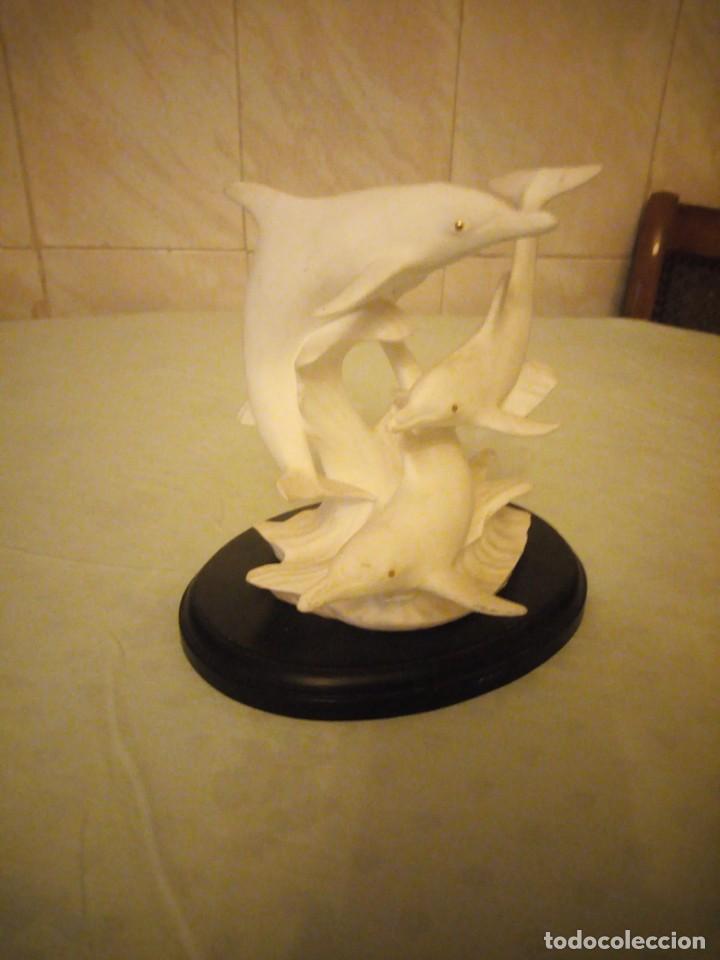 Vintage: preciosa figura de porcelana,delfines, flight of the dolphins fine bone china brooks bentley 1993 - Foto 2 - 157125882