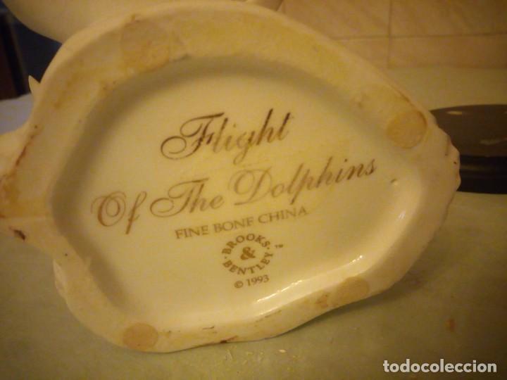 Vintage: preciosa figura de porcelana,delfines, flight of the dolphins fine bone china brooks bentley 1993 - Foto 5 - 157125882