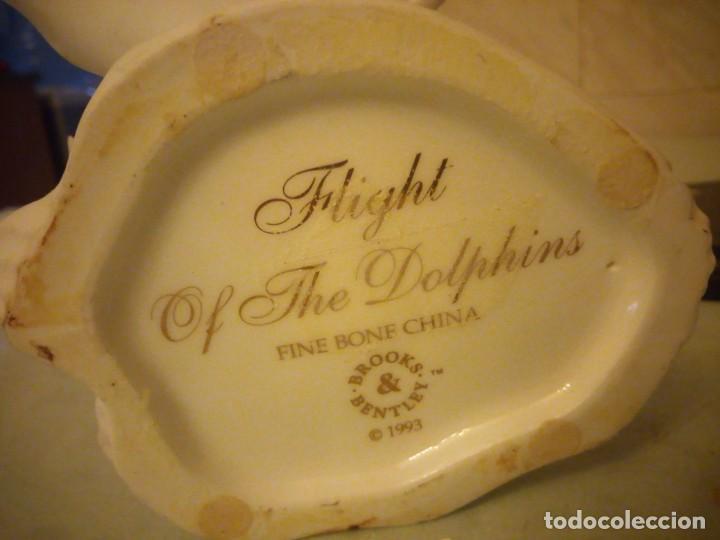 Vintage: preciosa figura de porcelana,delfines, flight of the dolphins fine bone china brooks bentley 1993 - Foto 6 - 157125882