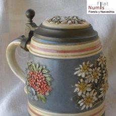 Vintage: JARRA DE CERVEZA ALEMANA - TAPA DE ZINC - EDICION NUMERADA - Nº 1485. Lote 163328962