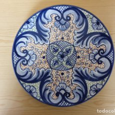 Vintage: PLATO PARA COLGAR CERÁMICA (LOZA) PINTADA A MANO Y VIDRIADA. Lote 159694598