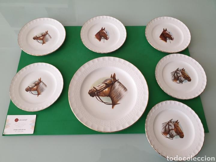 JUEGO DE PORCELANA PONTESA.MOTIVOS CABALLOS. (Vintage - Decoración - Porcelanas y Cerámicas)
