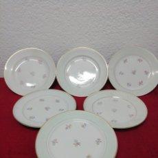 Vintage - Lote 6 platos con motivos florales. Porcelaine Opaque - 160346208