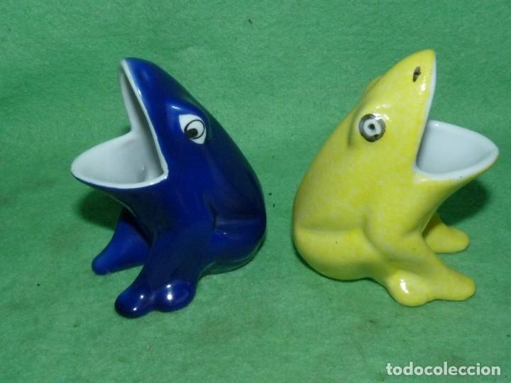 Vintage: Genial pareja huesera aceituna rana pez palillero porcelana pintada esmalte años 70 vintage - Foto 2 - 160407650