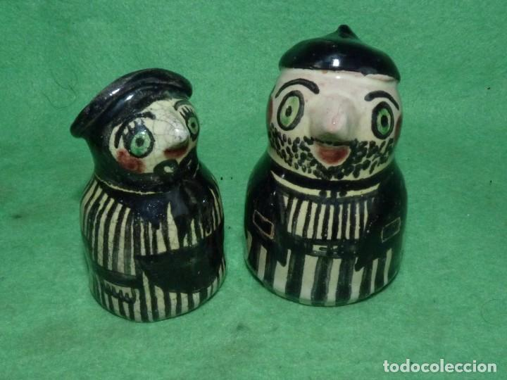 Vintage: Divertidos salero pimentero cerámica figuras pareja personajes pìntado a mano coleccion - Foto 2 - 160416954