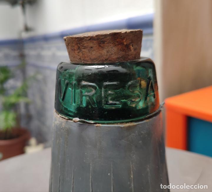 Vintage: ANTIGUA GARRAFA O BOTELLA DE VIDRIO DAMAJUANA VIRESA DE 16 L CON PROTECCION DE PLASTICO (AÑOS 70/80) - Foto 4 - 160566518